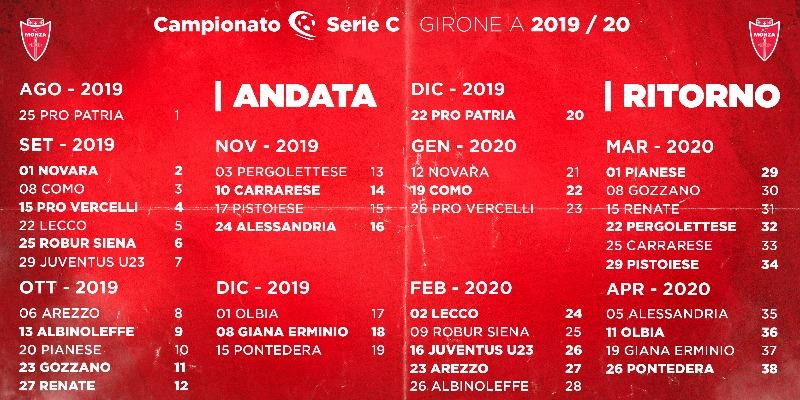 Calendario Arezzo Calcio.Monza Serie C 2019 20 Il Calendario Del Monza
