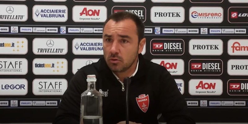 Mister Brocchi in conferenza stampa dopo Vicenza